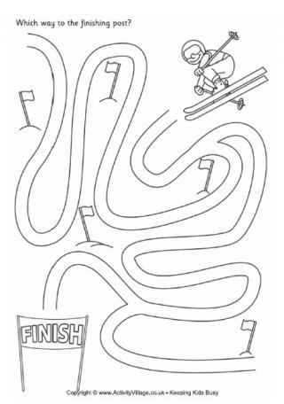 Drawn maze winter Winter Ski Maze Mazes
