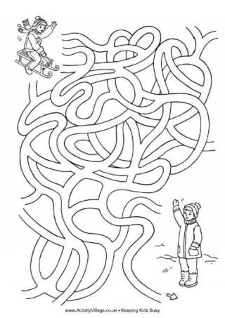 Drawn maze winter Maze Sledding Fun Mazes Winter