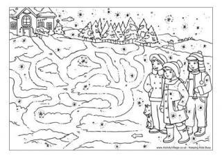 Drawn maze winter To Snowy Winter Mazes Walk