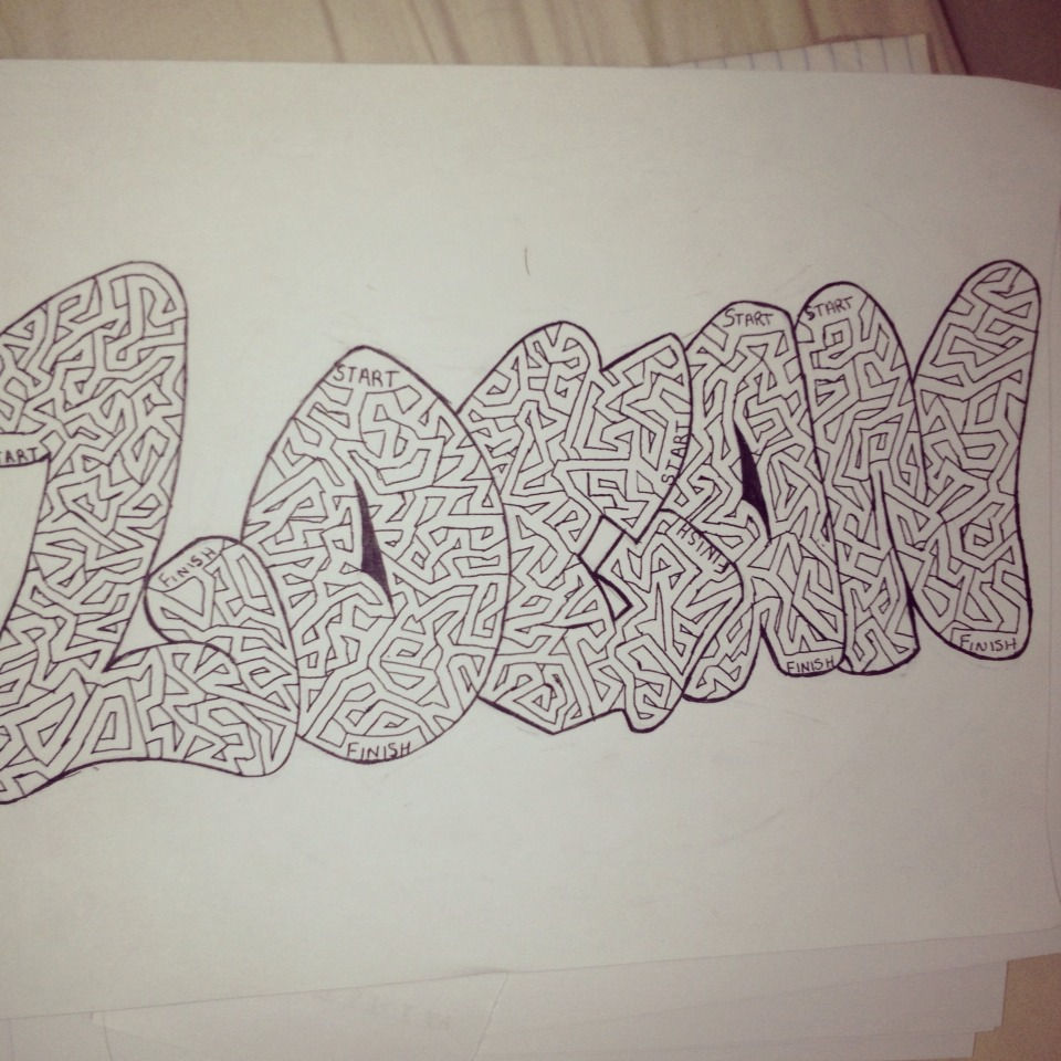 Drawn maze word Are Open bored like letter: