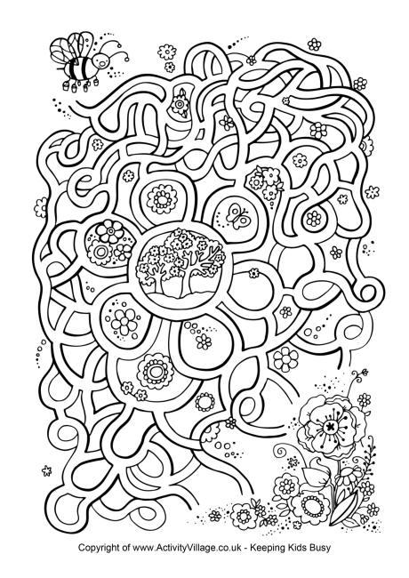 Drawn maze word Many Spring Words Maze Puzzle