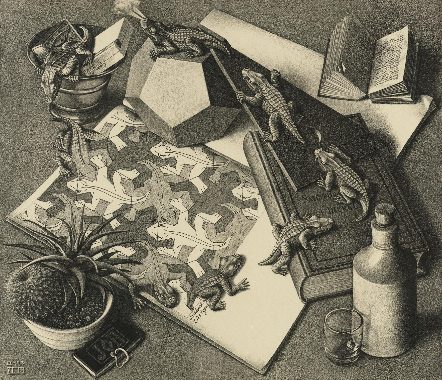 Drawn m.c.escher elephant Reptiles Escher world C 1943