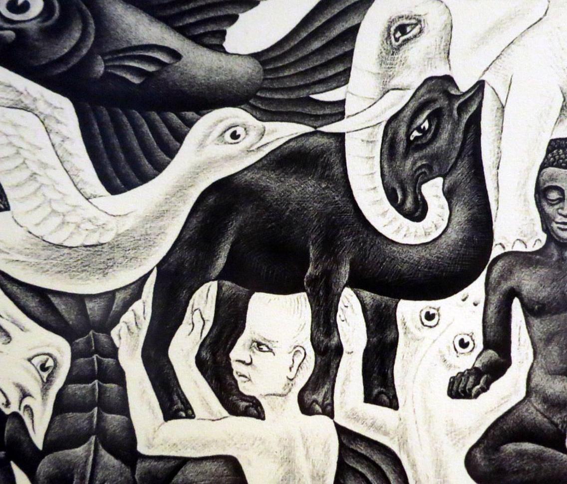 Drawn m.c.escher elephant Detail) (camel 1957 II by