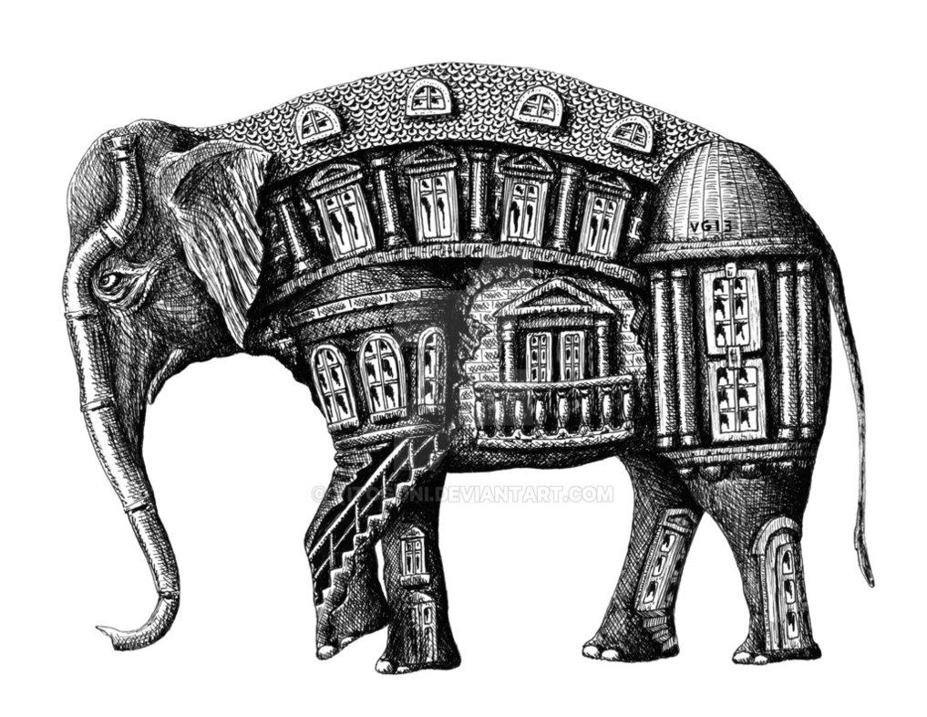 Drawn m.c.escher elephant Pen surreal Vitogoni Building ink