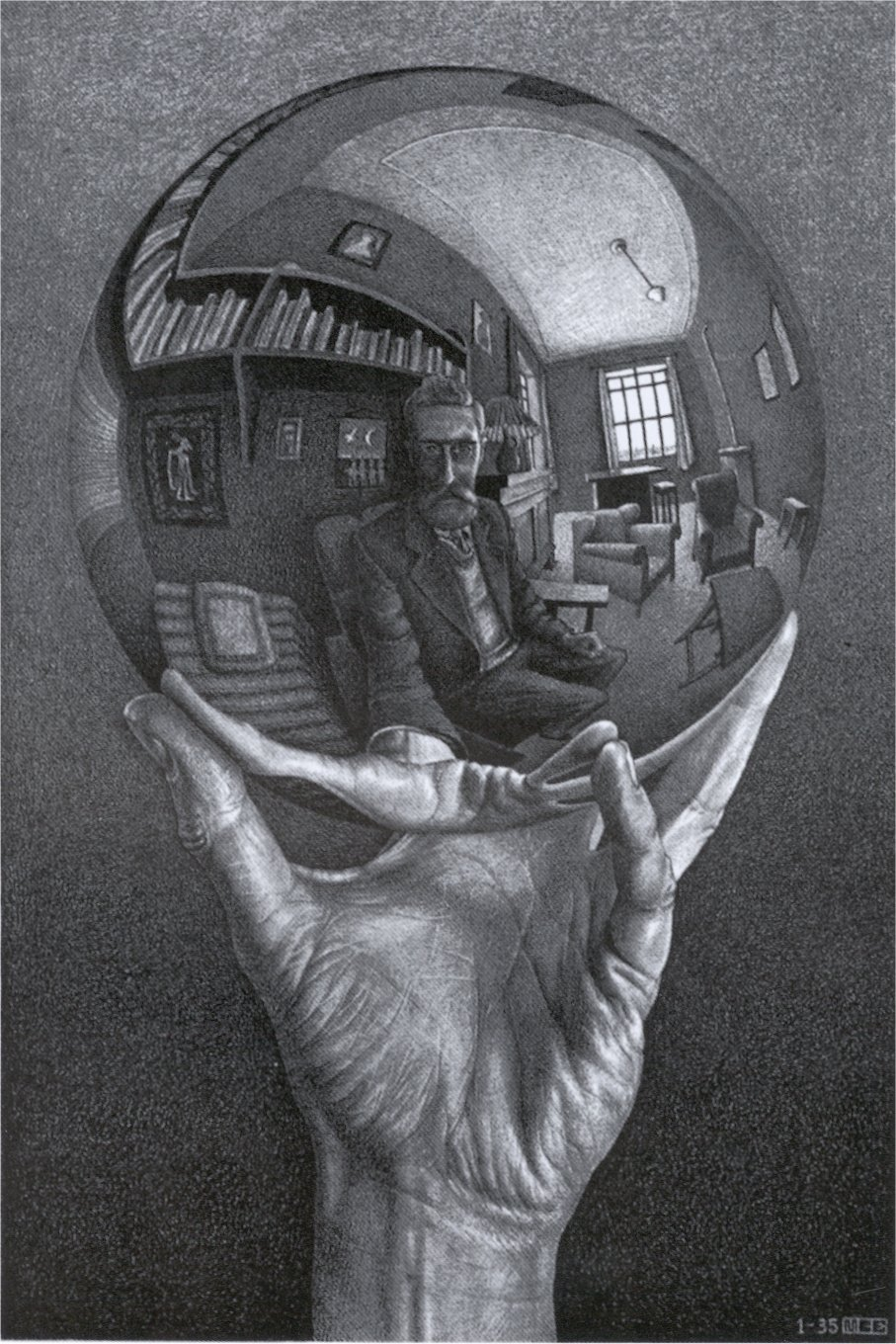 Drawn stone glass sphere Escher 1935 with Sphere M