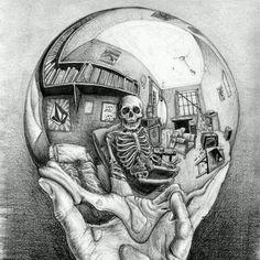 Drawn m.c.escher skeleton #12