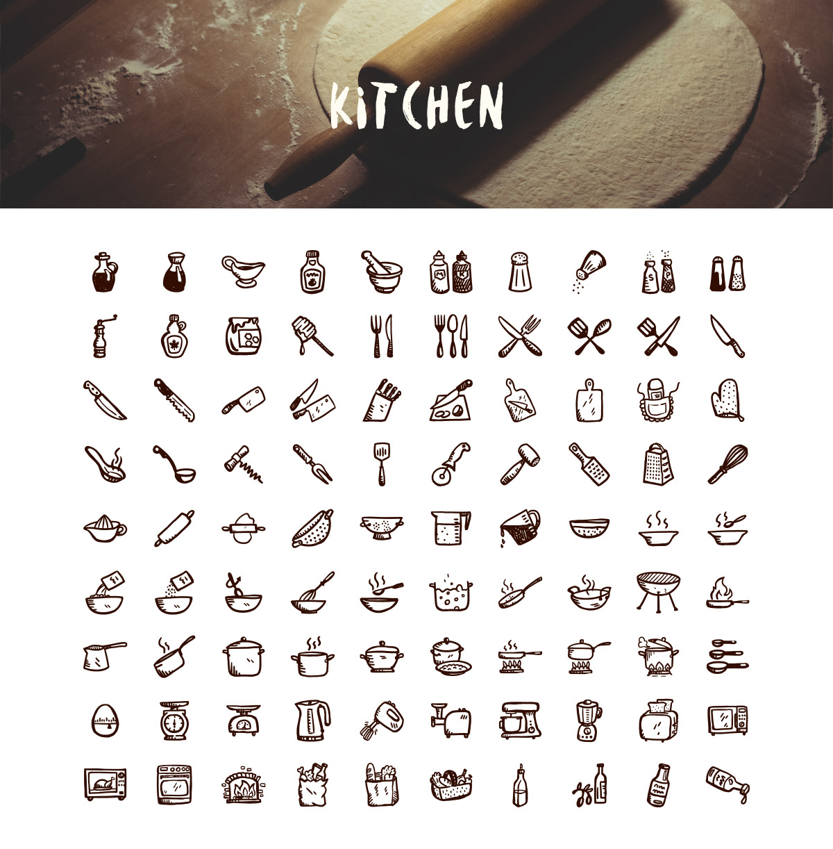 Drawn meal Tasty hand food icons: icons
