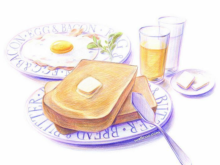 Drawn meal Colored images Food on 01)
