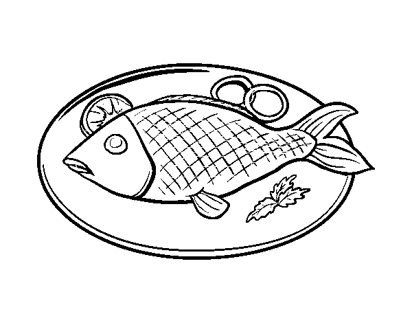 Drawn meat Com page plate Fish coloring