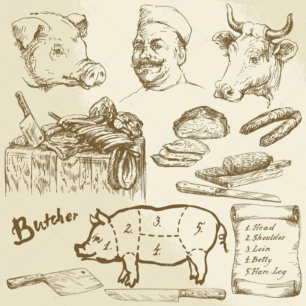 Drawn meat Collection hand Vector Stock collection