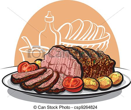 Drawn meat Roasted beef tomatoes EPS potatoes