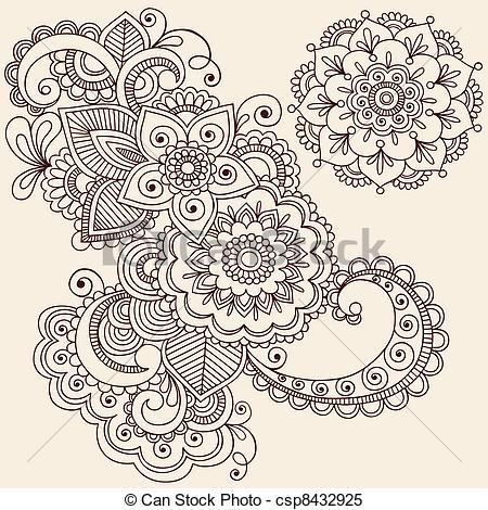 Drawn mehndi abstract Design Henna Elements Hand Drawn