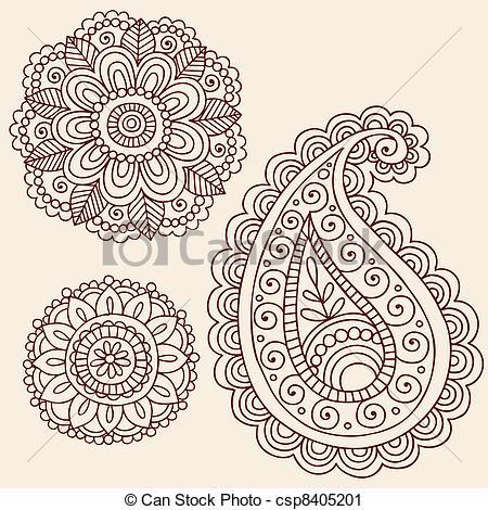 Drawn mehndi Elements Doodle Henna Hand Vector