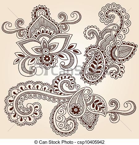 Drawn mehndi  Doodles Vector Designs EPS