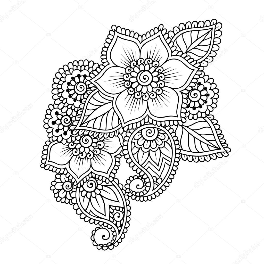 Drawn mehndi abstract  Stock Design Doodle Element