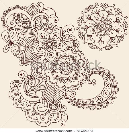 Drawn mehndi abstract Abstract Hand Henna Mehndi Flowers