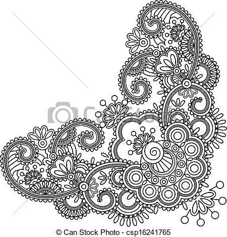 Drawn mehndi abstract Clip Mehndi Art henna csp16241765