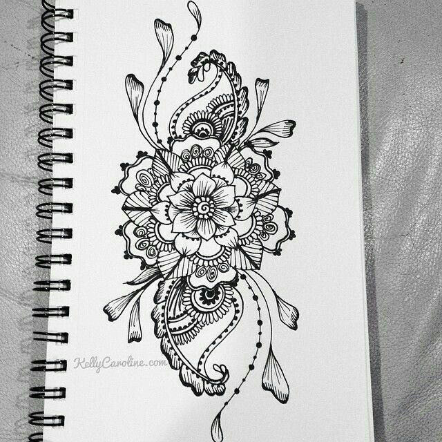 Drawn mehndi big flower Sketched with Best on Floral