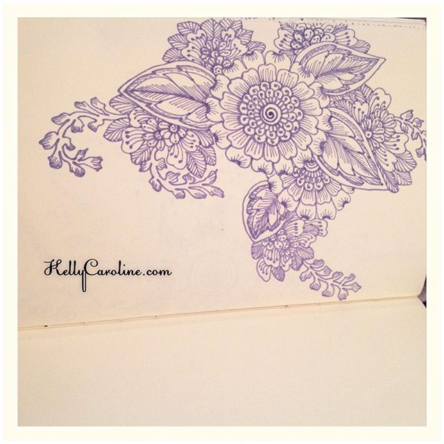 Drawn mehndi big flower With and flowers notebook throughout
