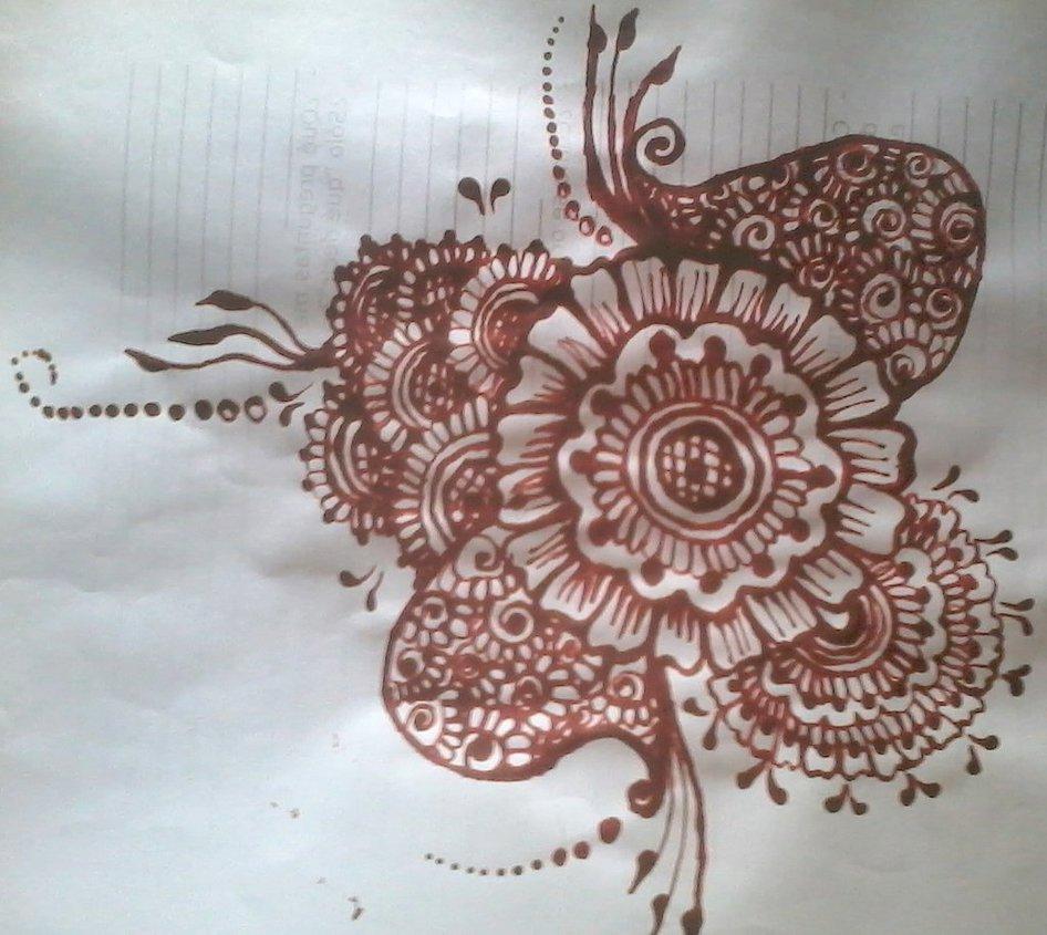 Drawn mehndi big flower By flower design series series