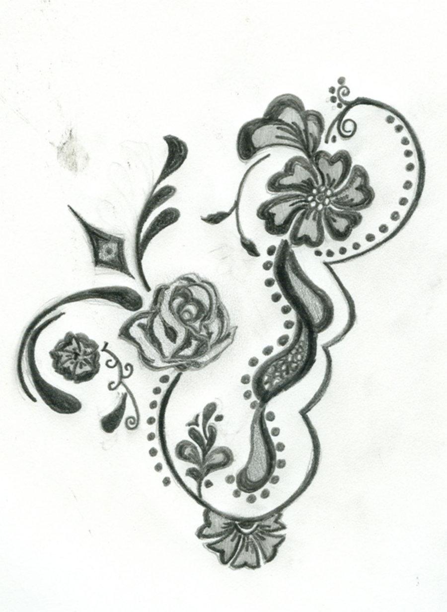 Drawn mehndi big flower Kids Kids Henna Design Arabic