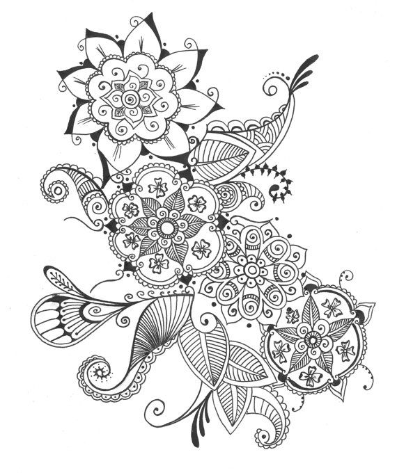 Drawn bouquet Of Design Ink et Flowers