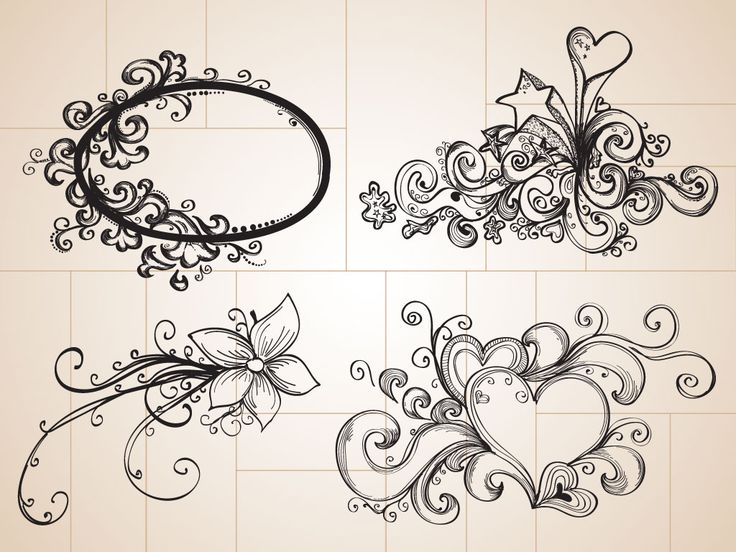 Drawn hearts design drawing Drawn Flower Tattoo Flower Flower