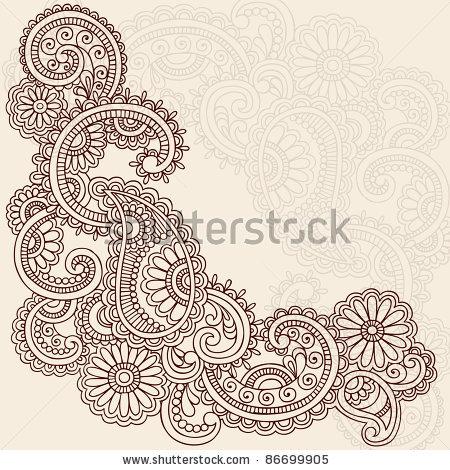 Drawn swirl paisley Hand Illustration Vector and Design