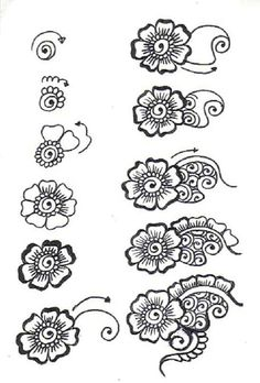 Drawn simple henna  beginners for designs designs