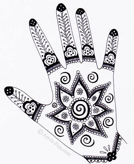 Drawn mehndi hand Henna Lesson:  Hand —