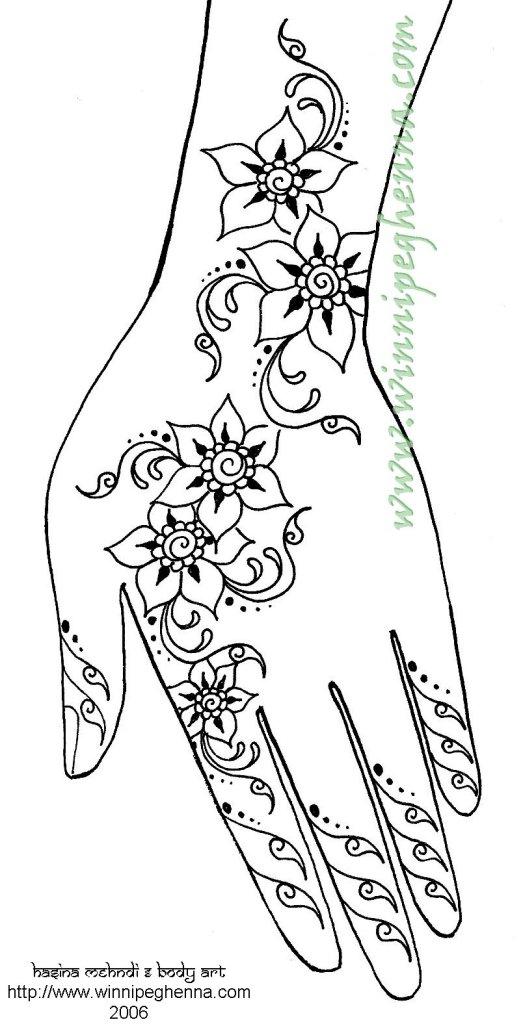 Drawn mehndi hand Free Henna Step Sample Step
