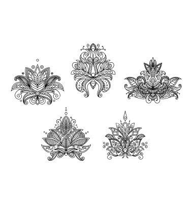 Drawn mehndi lotus flower By Lotus paisley Best Turkish