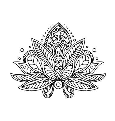 Drawn mehndi lotus flower VectorStock®: henna flower paisley Persian