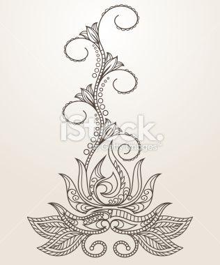 Drawn mehndi lotus flower Royalty henna Hand Lotus Mehndi