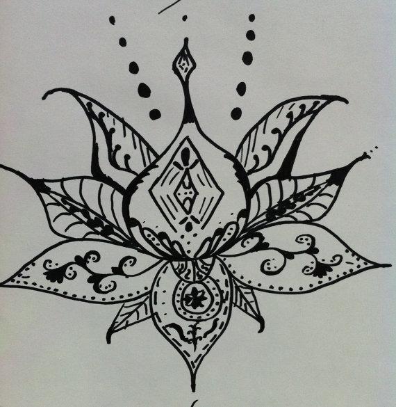 Drawn mehndi lotus flower Zentangle lotus style Henna Lotus