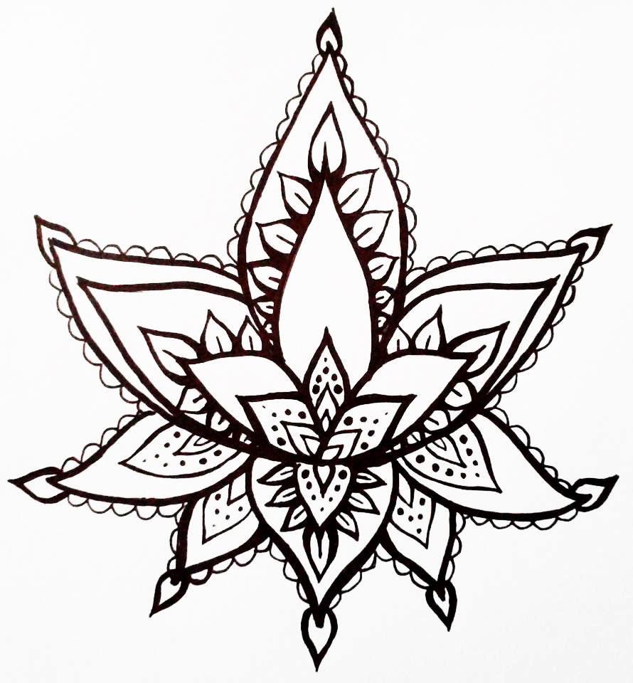 Drawn mehndi lotus flower Flower Style Tattoo Drawn