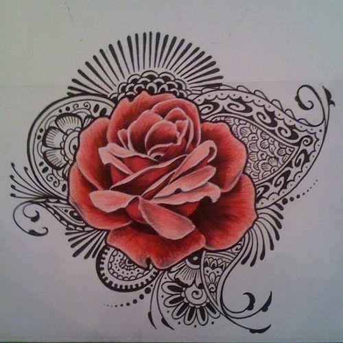 Drawn red rose fancy Beautiful tattoo Pinterest on images