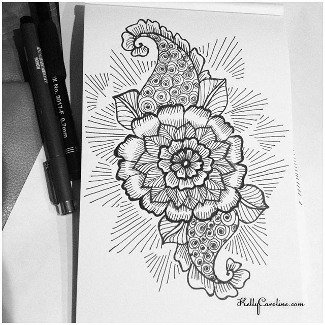 Drawn mehndi sketch Caroline henna new Kelly A