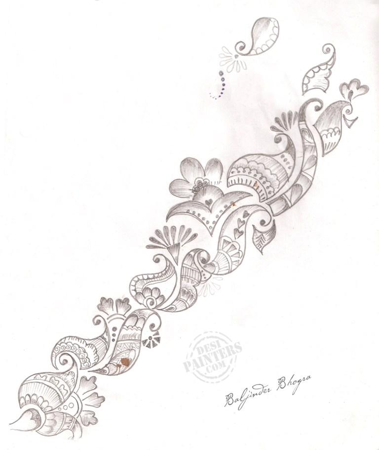 Drawn mehndi sketch Sample Mehndi Design Pencil Drawings: