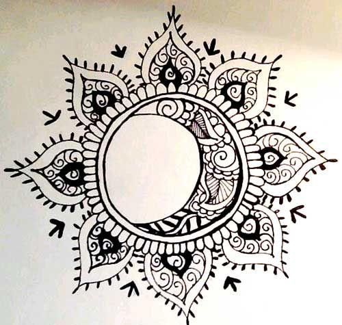Drawn mehndi sun Sun 25+ and Mandala Moon