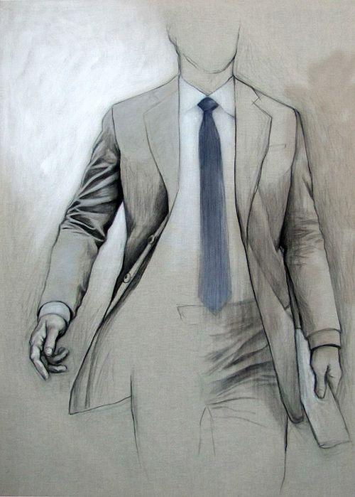 Drawn men suit illustration #6