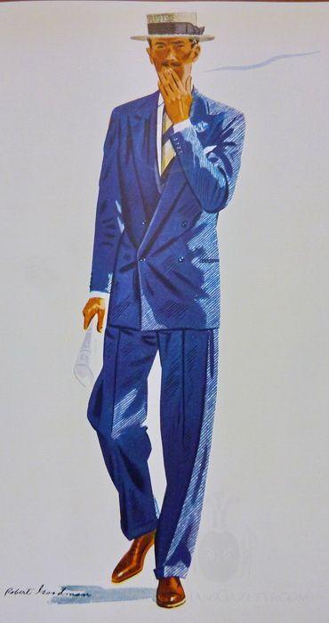 Drawn men suit illustration #7