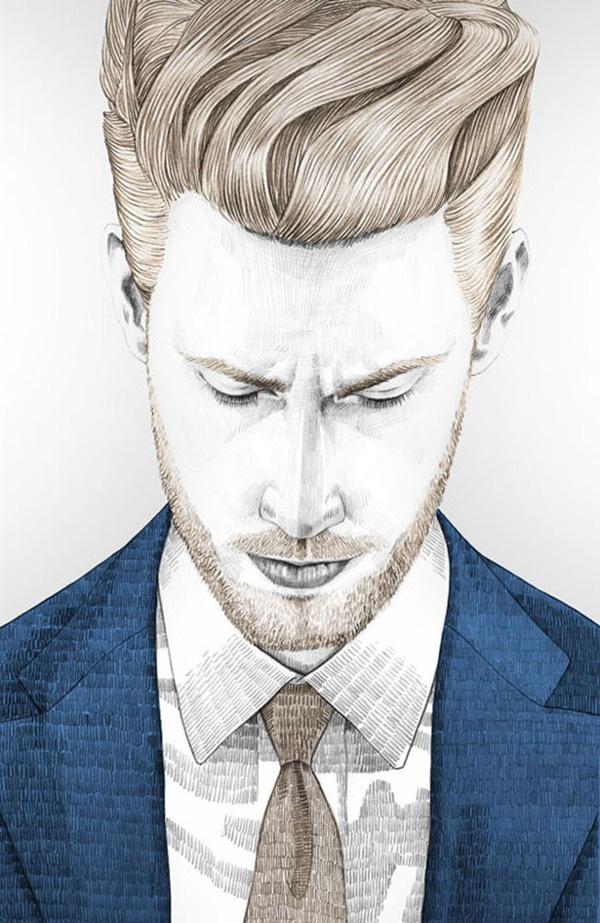 Drawn men suit illustration #8