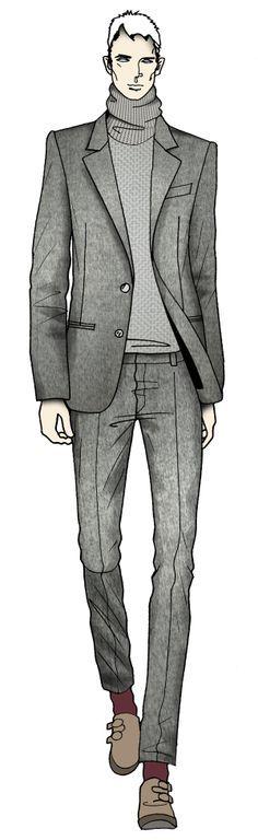 Drawn men suit illustration #5