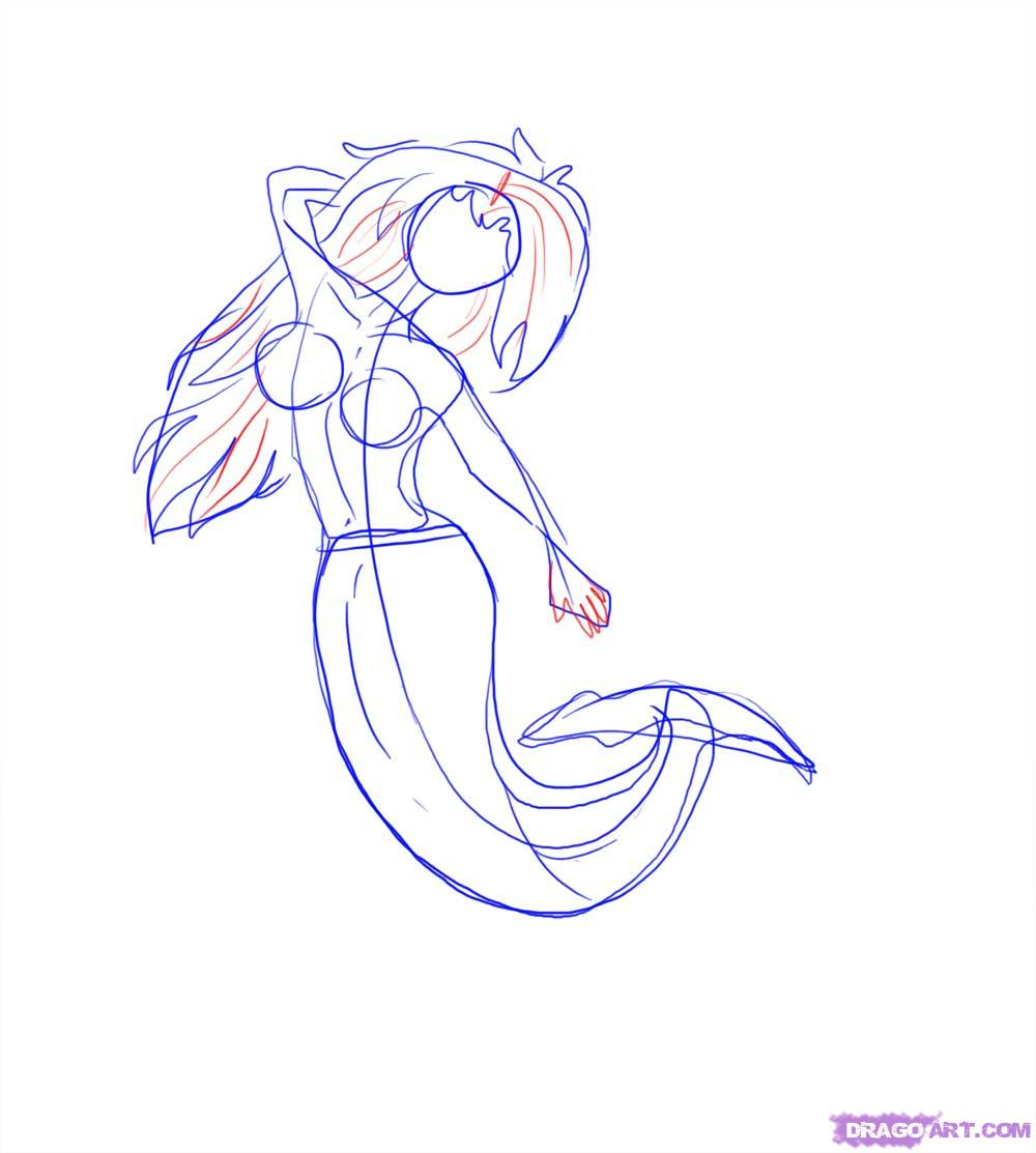 Drawn mermaid Mermaids A Mermaid How