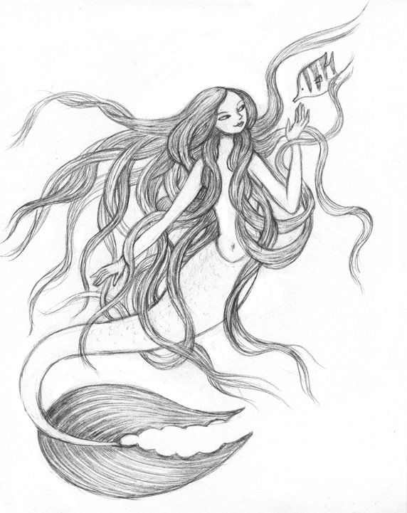 Drawn mermaid  ArtGhost: Another hair mermaid/giant