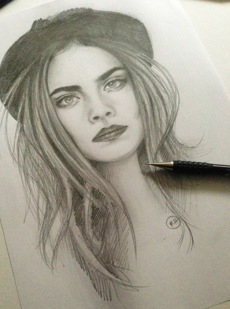 Drawn portrait professional Pinterest ideas delevingne Cara Cara