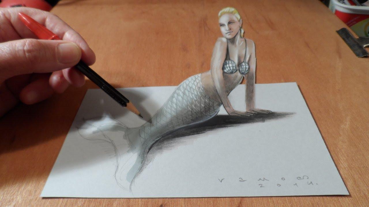 Drawn mermaid hard Draw How How Anamorphic a