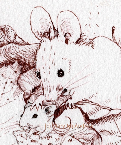 Drawn rodent baby mouse Mouse and little A mother