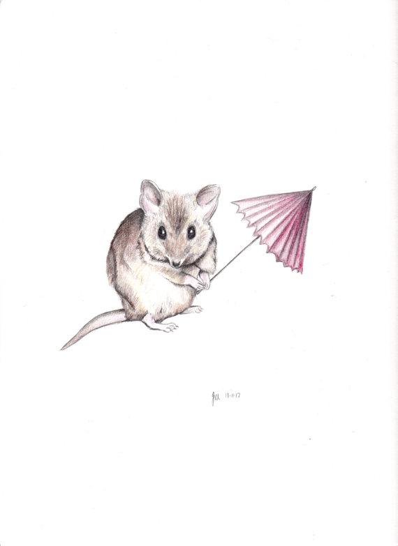 Drawn rodent umbrellas Animal mouse Original Mouse Blue